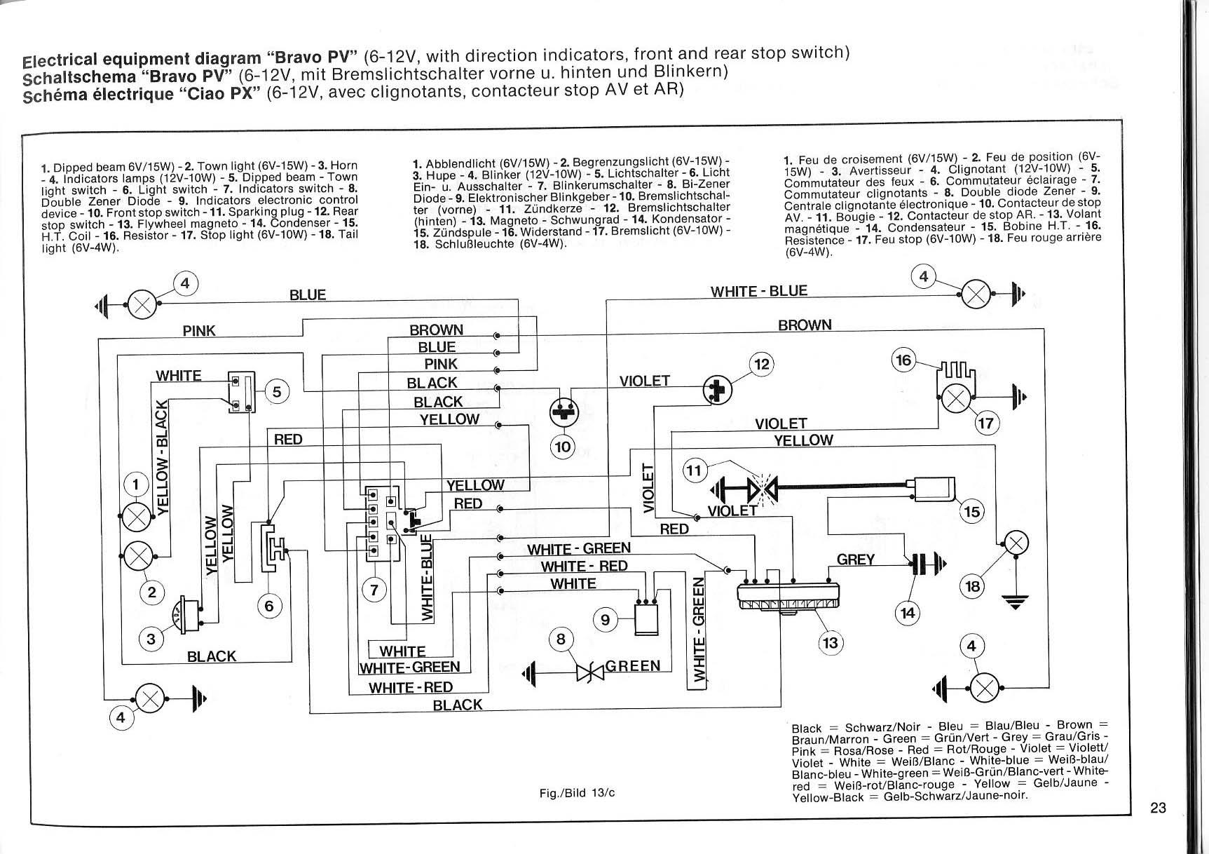 Schema Elettrico Ape 50 Monofaro : Ciao cross club schema elettrico si versione base e